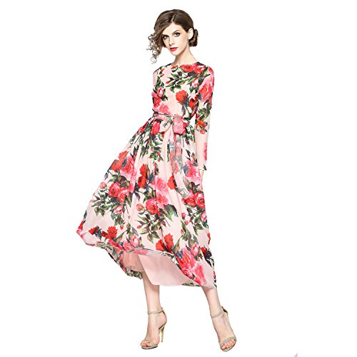 Gold House Women's Boho Long Sleeve Chiffon Vintage Rose Print Summer Maxi Dress (Large, (Floral Stretch Silk Dress)
