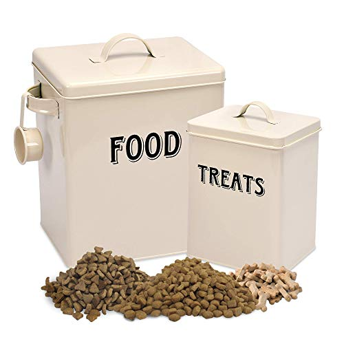 Pet Food and Treats Containers Set with Scoop for Cats or Dogs by Silky Road - Vintage Cream Powder-Coated Carbon Steel - Tight Fitting Lids - Storage Canister Tins ()