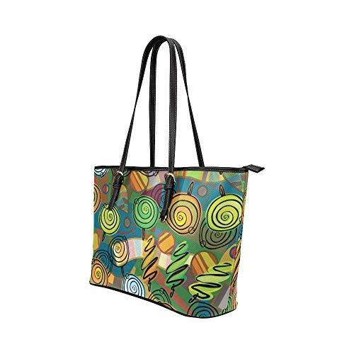 Dam Satchel Väskor Vacker Färgglad Landskap Målning Läder Handväskor Väska Kausal Handväskor Dragkedja Axelorganiserare för Dam Flickor Kvinnor Handväska
