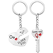 "Hot Sale!!! Romantic Couple ""I Love You"" Keychain Keyring Keyfob Valentine Gift Wedding Anniversary Heart Key Set"