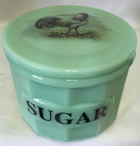 Jade Jadeite Jadite Green Depression Style Glass Sugar Crock Canister Cellar w/ Chicken White Leghorn Rooster ()