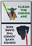 Star Wars Clean & Dirty Yoda/Darth Vader Dishwasher Magnet. Extra Strong Magnet! End Kitchen Problems! 100% Made in the USA!