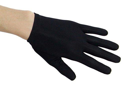 Queen of Hearts Nylon Spandex Shortie Glove, Black - Lycra Spandex Gloves