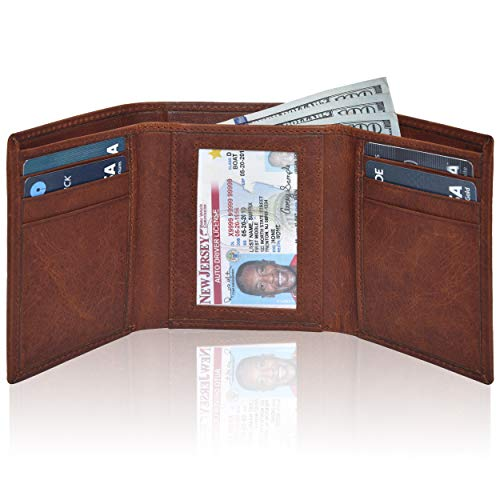 RFID Leather Trifold Wallets for Men- Handmade Slim Front Pocket Mens Wallet 6 Credit Card Holder with ID Window (Small, Tan Vintage) ()