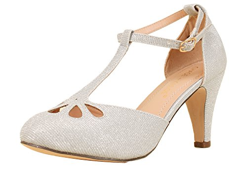 Chase & Chloe Kimmy-36 Women's Teardrop Cut Out T-Strap Mid Heel Dress Pumps (6, Silver Glitter)