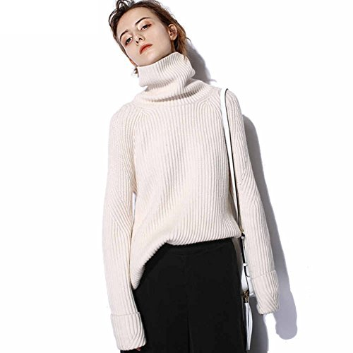 VenuStar Womens Cashmere Sweater Cardigan Casual Loose Long Sleeve Knit High-Low Hem Turtle Neck Pullover(White, S)