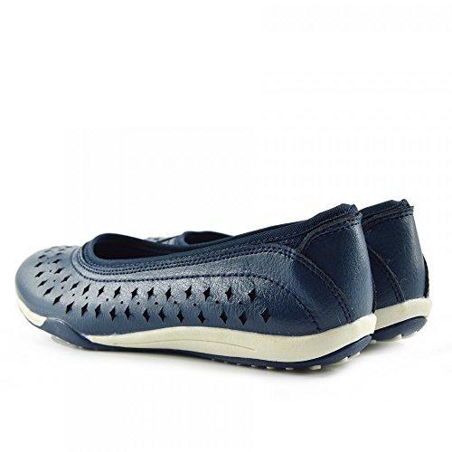 Kick Footwear - Damen Leder bequem Schuhe Damen bequeme neue Schuhe, flache Schuhe Navy-F80204