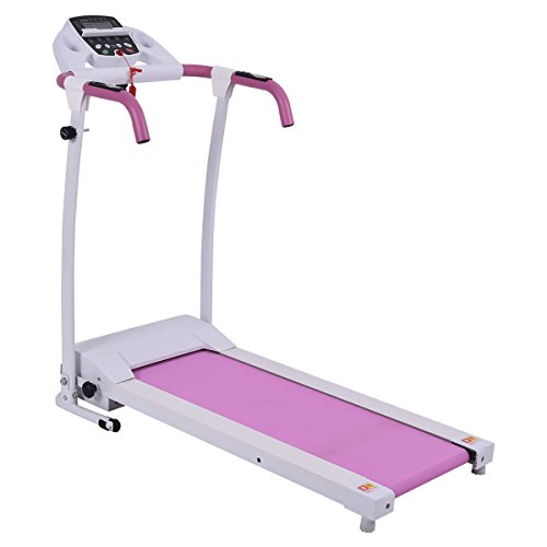 GYMAX Folding Exercise Treadmill Fitness Electric Treadmill Electric Motorized Power Fitness Running Machine 800W W/IPAD Mobile Phone Holder (Pink) by GYMAX (Image #7)