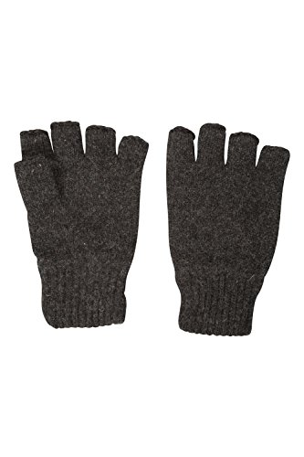 Mountain Warehouse Thinsulate Fingerless Knitted Mens Wool Gloves Dark Grey