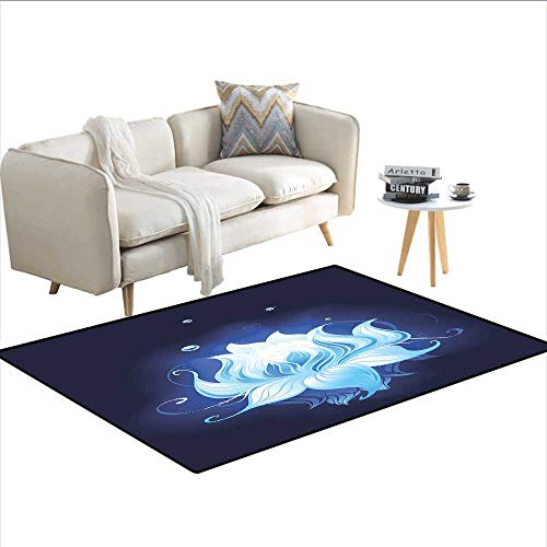 Carpet,Zen Lotus with Dew Drops Reflected in Dark Water Background Yoga Spirit Image,Indoor Outdoor Rug,Indigo Sky Blue 48