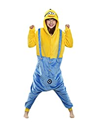 I'MQueen Unisex Cute Minions Onesie Hooded Adult Pajamas Flannel Cosplay Costume
