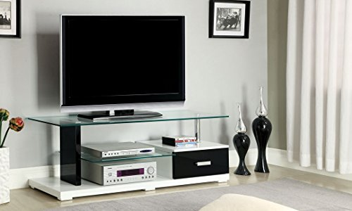 247SHOPATHOME IDF-5814-TV Television-Stands, Black Chrome Contemporary Tv Stand