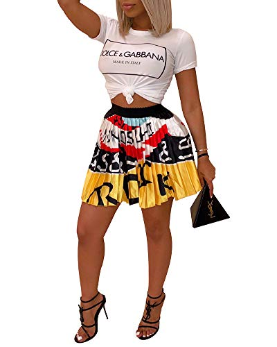 Halfword Women's Digital Print Stretchy Flared A Line Pleated Skater Skirt]()
