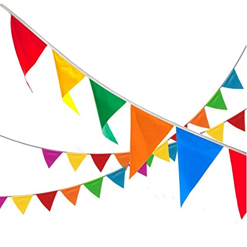 Leimaq 300pcs Multicolor Pennant Banner Flags, 295 ft Nylon Fabric Banner Rope Decorations for Grand Opening