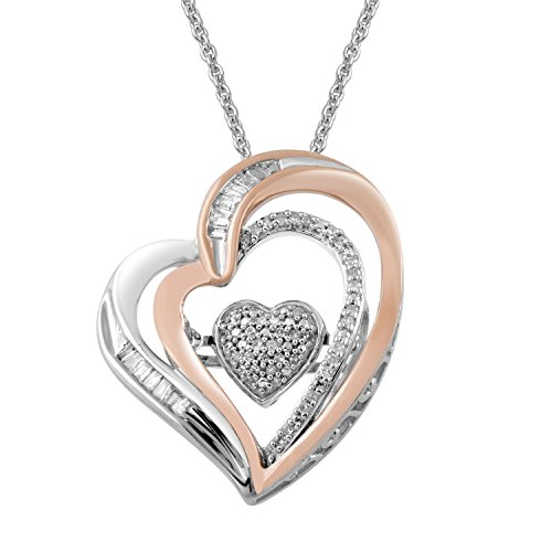 Jewelili Sterling Silver with 10K Pink Gold Accent Baguette and Round Diamonds in Dancing Double Heart Pendant Necklace,1/5cttw. 18