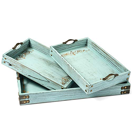 Modern 5th Vintage Aqua Blue Ottoman Wooden Serving Trays with Handles Set of 3 Decorative Tray, Coastal Decor, Pattern Designed