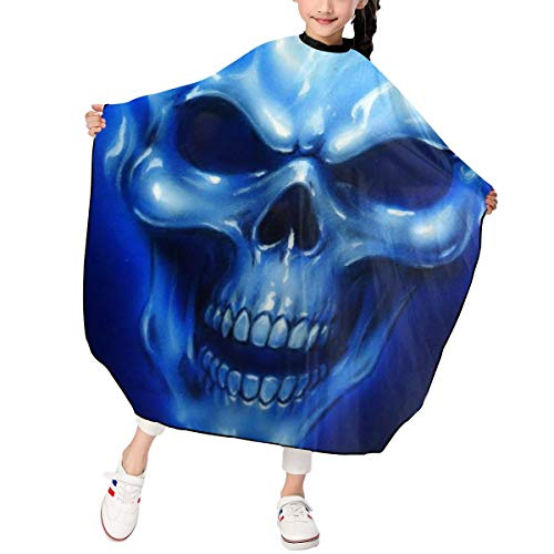 - PNNUO Salon Barber Cape Haircut Apron Skull with Blue Flames with Snap Closure Waterproof Professional Hairdressing Cover Equipment for Adults Styling