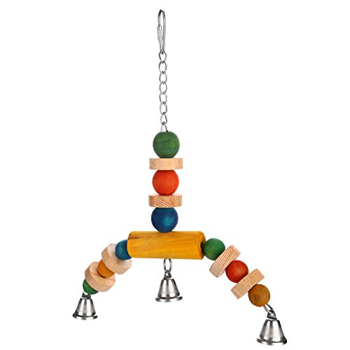 Wooden Bird Swing (Aigou Wooden Bird Swings Perches with Bells Hanging Toys 8.5'' by 11.5'' for Parakeet Budgie Cockatiel Small)