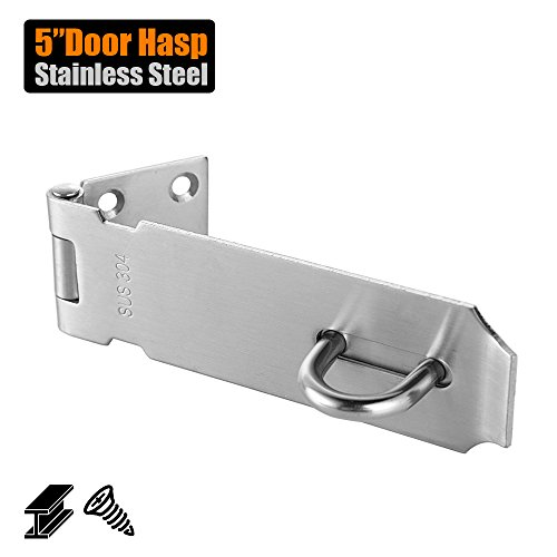 JQK Door Hasp Latch Lock, 5 inch Stainless Steel Safety Packlock Clasp Thickness 1.9 mm, Brushed Finish, DL130-BN