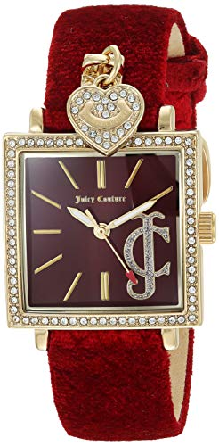 - Juicy Couture Black Label Women's  Swarovski Crystal Accented Gold-Tone and Red Velvet Strap Watch
