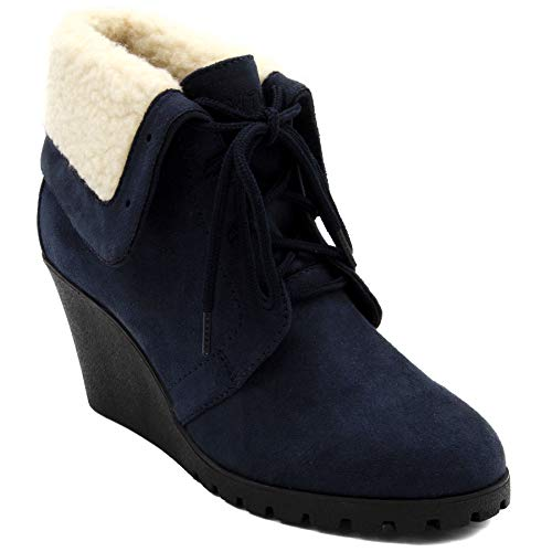 Nautica Womens New Rendon Lace-Up Boot Wedge Ankle Bootie with Fold Over Sherpa Fur Collar-Navy