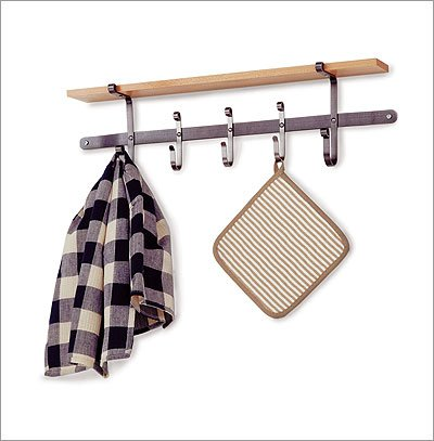 UPC 606155002786, Enclume ATR5 Finishing Touches Apron Towel Rack, Hammered Steel and Wood