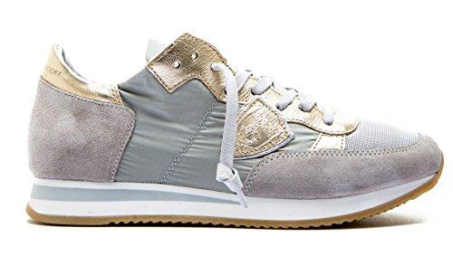 2018 Donna Tela e Modello Collection TRLD Colore Oro in Model Sneaker Philippe New Tropez Pelle Paris Grigio 1122 q8wCTTx5z