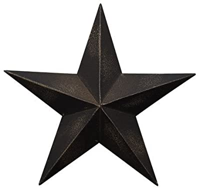 Dimensional Steel Metal Barn Star, 12-inch, Black Antique Matte Finish, Lightly Distressed