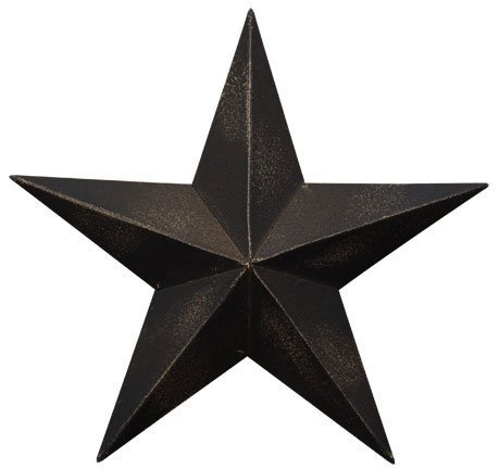 Dimensional Steel Metal Barn Star, 12-inch, Black Antique Matte Finish, Lightly Distressed