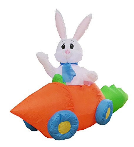 BZB Goods 5 Foot Long Party Inflatable Bunny in Carrot Car Lighted Outdoor Indoor Holiday Decorations Blow up Yard Lawn Inflatables Home Family Outside Decor