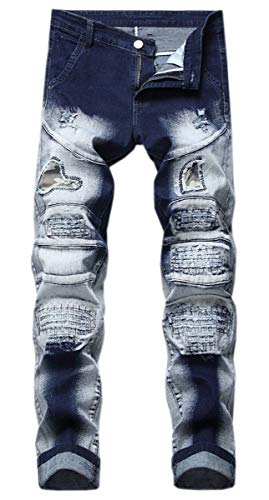 Men's Biker Jeans, Camouflage Patch Denim Ripped Hole Distressed Biker Jeans Pants for Men, Blue White, 34
