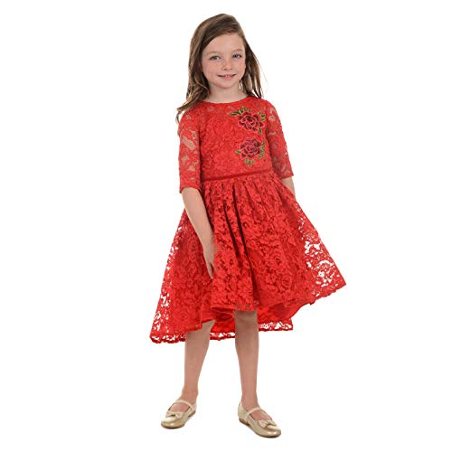 Laura Ashley London Little and Toddler Girls' Allover Lace Dress with Applique, Red, 5 -