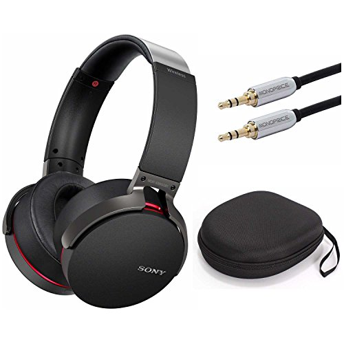 Sony XB950B1 Extra Bass Wireless Headphones with App Control, Black w/Case & 10ft. 3.5mm Cable