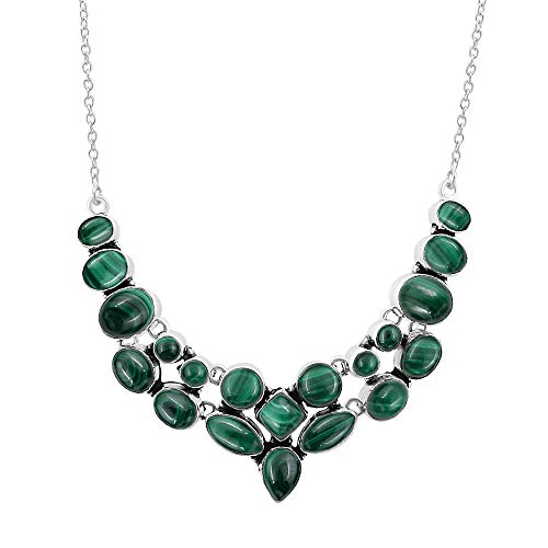 Natural Multi Shape Malachite Necklace 925 Silver Overlay Handmade Vintage Style Fashion Jewelry for Women - Malachite Necklace Oval