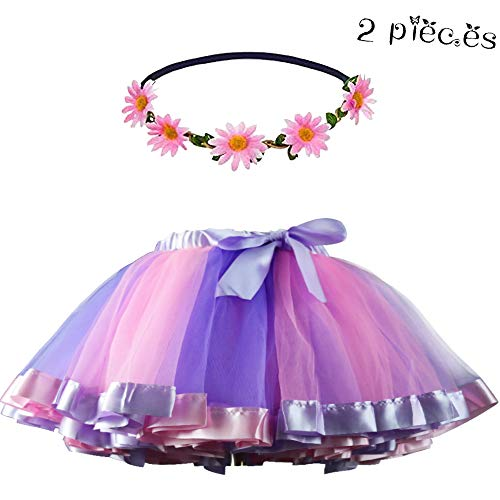 Layered Tulle Rainbow Tutu Skirt for Toddler Girls Princess Dance Dress Up with Daisy Flower Headband (Purple-Pink)