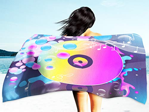 Kutita Music Theme Wallpaper Travel Beach Towel 30X60 Inch, Abstract Colorful and Dark Multicolored and Spheres Party and Fast Dry Sand Free Microfiber Beach Towel Blanket Swim Camping