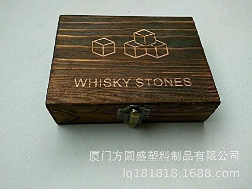 NO LOGO BenedictGladysd 9pcs / Lot Whisky Stein mit Holzkiste & Samtbeutel Whiskey-Kühler Felsen Steine Cube Stein Weinkühler Eiswürfelkühler (Color : Grey with Box)