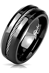 Men's Steel Cable Cord Rope Black Finish Wedding Band Ring
