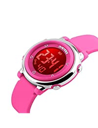 Kids Digital Watch Boy Girls Outdoor Sports LED Alarm Stopwatch Children's Dress Wristwatches(Pink)
