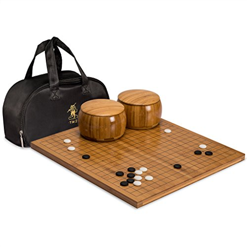 Go Game Set with Bamboo Go Board (0.8 Inch Thick), Single Convex Yunzi Stones and Bamboo Bowls by Yellow Mountain Imports