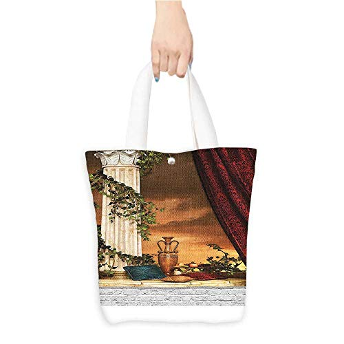 Printed Shoulder bag Greek Style Scene Climber Pillow Red Curta Ancient Godd Sunset Comfortable hand feeling W11 x H11 x D3 INCH