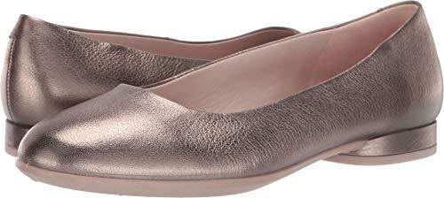 ECCO Women's Anine Ballerina Ballet Flat Stone Metallic 38 M EU (7-7.5 US) (Flats Leather Metallic Ballet)
