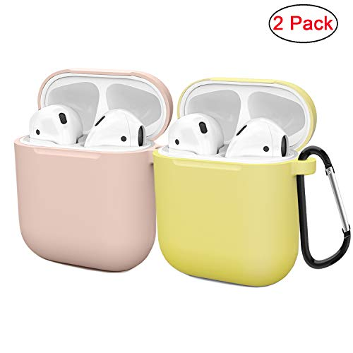 Silicone Skin Case Pack - Compatible AirPods Case Cover Silicone Protective Skin for Apple Airpod Case 2&1 (2 Pack) Sand Pink/Yellow