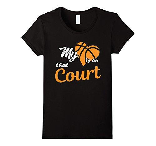 Women's My Heart is on That Court Basketball T-Shirt  Medium Black (T Shirts That Light Up)