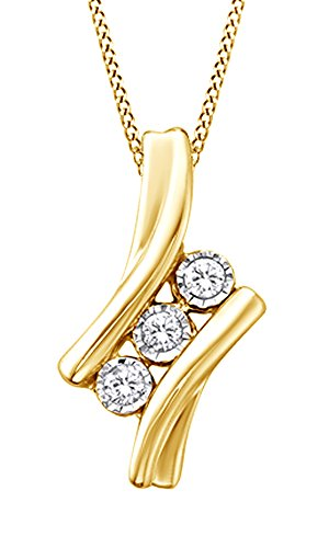 White Natural Diamond 3 Stone Pendant Necklace in 14k Yellow Gold Over Sterling Silver (0.1 Ct) 0.1 Ct Diamond Bezel