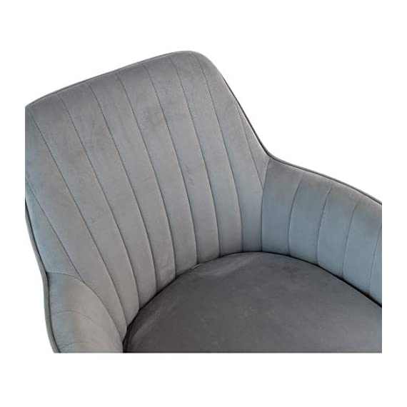 GOLDEN BEACH Velvet Dinning Chair Set of 1 Mid-Back Accent Chair Modern Leisure Armchair with Gold Plating Legs Upholstered Living Room Chair (Gray) - Soft Velvet Upholstery:Skin-friendly fabric design,elegant and delicate decoration in living room,dinning room and guest room. Ergonomic Design:Ergonomic design mid-back fits your back curve perfectly,soft back cushion support helps to relieve back tightness,comfy for long time seating. Sturdy Structure: Metal frame internal the dinning chair matches the high density foam add the steady of the whole chair.Weight capacity hold up to 250lbs. - living-room-furniture, living-room, accent-chairs - 41nNRHlEdPL. SS570  -