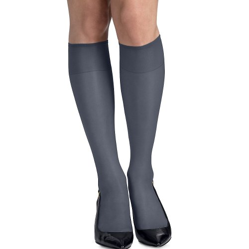 Hanes Women's 2 Pair Set of 3 Silk Reflections Silky Sheer Knee Highs - Best-Seller! One Size, Classic Navy