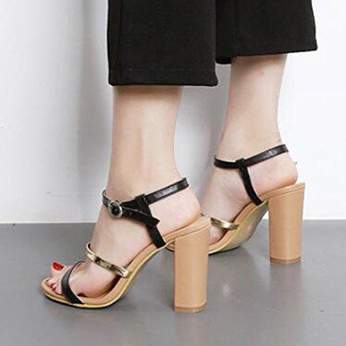 Easemax Dames Trendy Contrasterende Kleur Enkel Gesp Strappy Open Teen Hoge Dikke Hak Slingback Sandalen Zwart