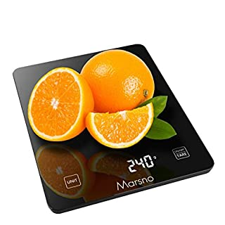 Marsno Food Scale, 22lb Digital Kitchen Scale Weight Grams and oz for Cooking Baking, 3g/0.1oz Precise Graduation, and Tempered Glass, Lightweight and Durable Design, LCD Digital Display ( Black )