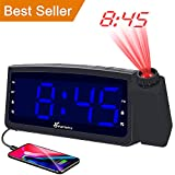 Projection Alarm Clock Radio with USB Charger, Vansky Digital Projection Clock for Bedrooms, FM Radio, 6.57'' LED Display with Dimmer, Dual Alarm, Snooze, Battery Backup
